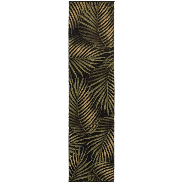 Shop Tommy Bahama Villa Black Green Tropical Area Rug 1