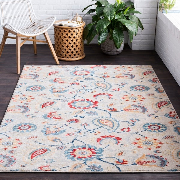 Guenevere Floral Paisley Khaki Area Rug - 2' x 3'