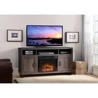 Dijon Media Fireplace in Weathered Black Brown Oak