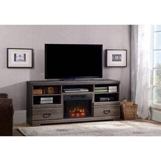 Laven Weathered Black Brown Oak Laminate Media Fireplace