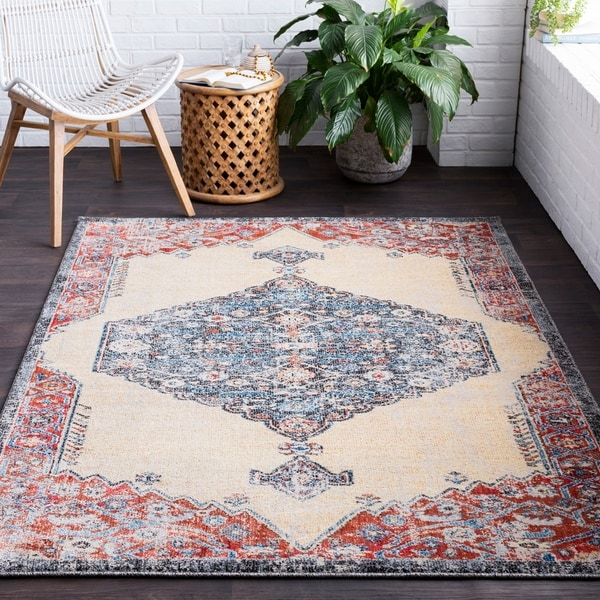 Adrastos Traditional Distressed Khaki Area Rug - 2' x 3'