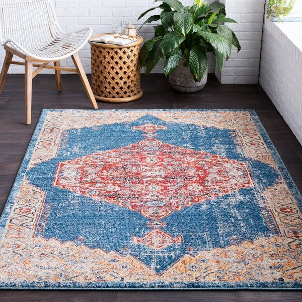 Adrastos Traditional Distressed Navy Area Rug - 2' x 3'