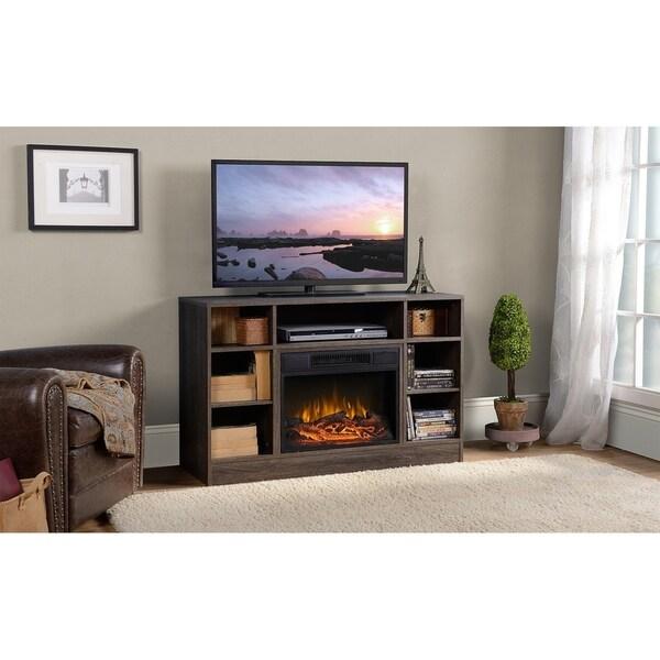 Oakley Media Fireplace in Weathered Black Brown Oak