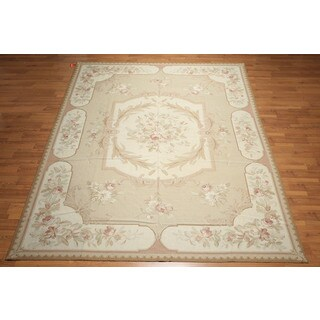 Pure Wool Victorian Formal Hand Woven Needlepoint Aubusson Area Rug (9'x12')