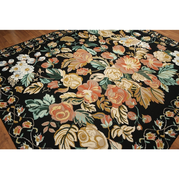 Country Floral Hand Woven Needlepoint Aubusson Area Rug - 8'x10'
