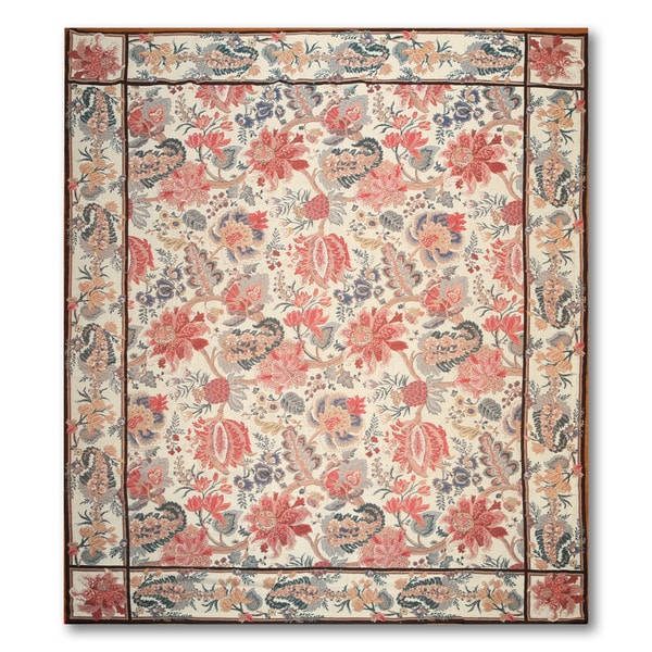"""Shabby Chic Contemporary Hand Woven Needlepoint Aubusson Area Rug (8'x9'8"""")"""