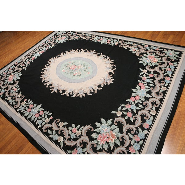 Floral Victorian Hand Woven Needlepoint Aubusson Area Rug (8'x10')