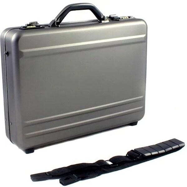 World Traveler European-Style Gunmetal Aluminum Laptop Attache Case. Opens flyout.