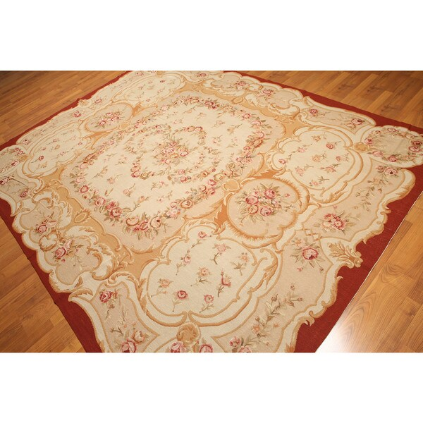 French Country Formal Hand Woven Needlepoint Aubusson Area Rug - 8'x10'