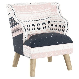 Skyline Furniture Kids Accent Chair in Nordic Sweater Navy Blush