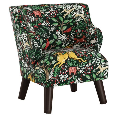 Skyline Furniture Kids Accent Chair in Frolic Evergreen
