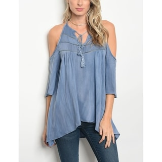 JED Women's Washed Viscose Fabric Cold Shoulder Top