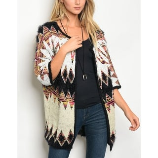 JED Women's Relax Fit Printed Quarter Sleeve Fuzzy Sweater Cardigan