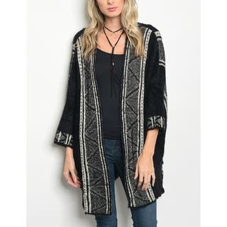 JED Women's Oversized Fuzzy Quarter Sleeve Printed Sweater Cardigan https://ak1.ostkcdn.com/images/products/18043134/P24208432.jpg?impolicy=medium