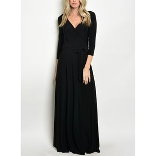 JED Women's 3/4 Sleeve Solid Maxi Dress with Waist Tie