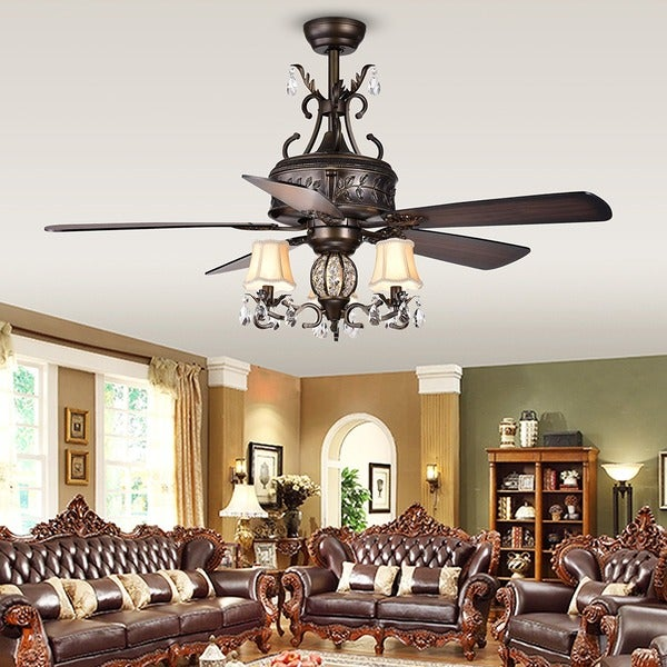 Antique Style Ceiling Fan Part - 25: Firtha 5-Blade Antique Style 3-Light 52-Inch Ceiling Fan