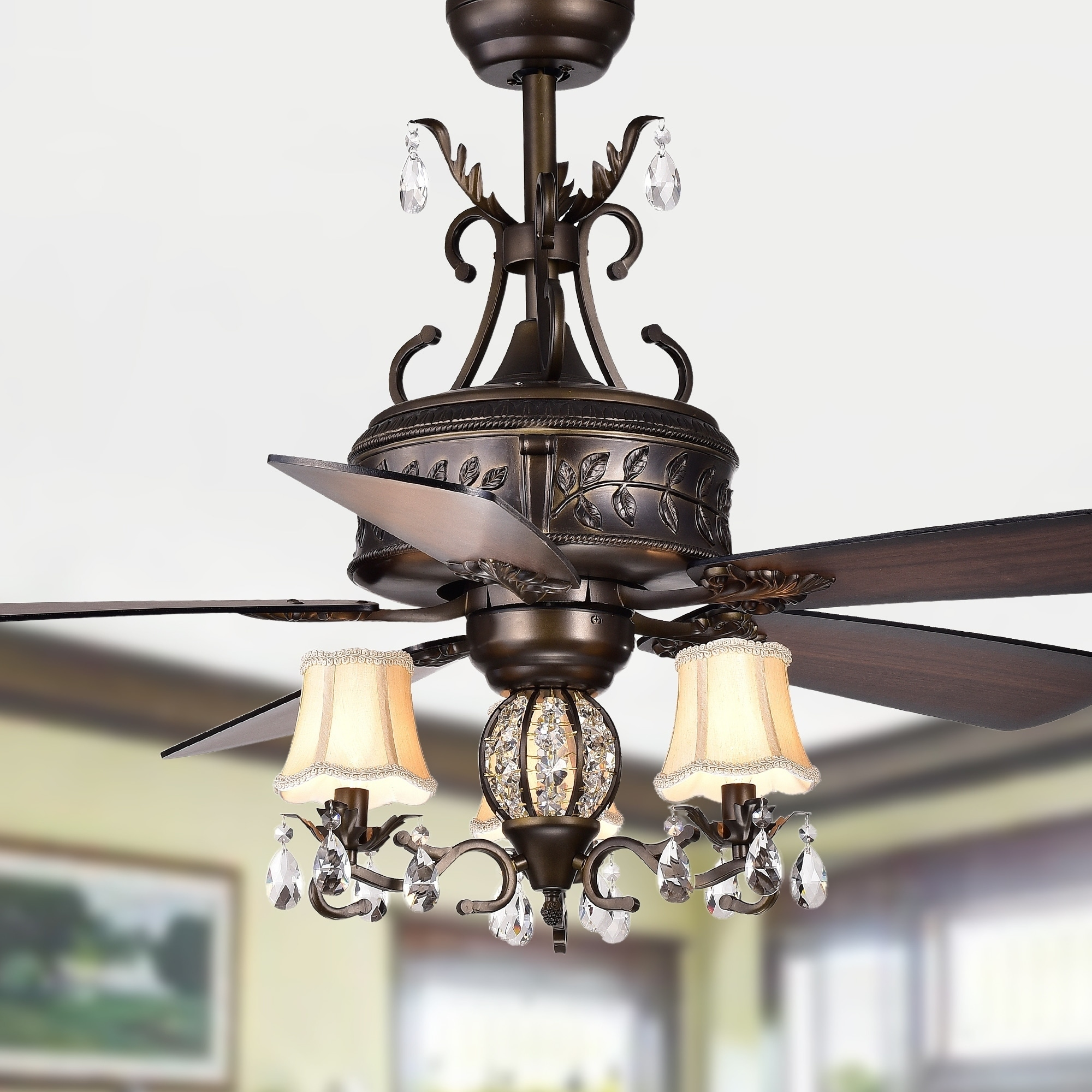 Shop Black Friday Deals On Firtha 52 Inch 5 Blade Antique Lighted Ceiling Fans With Branched French Chandelier Optional Remote Overstock 18043284