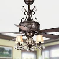 Firtha 52-Inch 5-Blade Antique Lighted Ceiling Fans with Branched French Chandelier (Optional Remote) - Brown