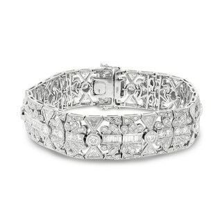 Auriya Platinum 9 7/8ct TDW Diamond Bracelet - White