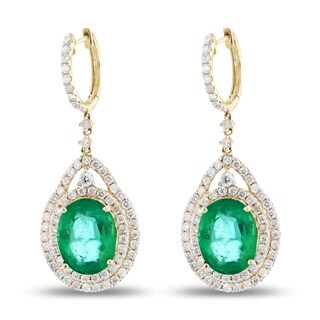 Auriya 14k Yellow Gold 9 1/2ct Emerald and 2 1/3ct TDW Diamond Earrings - White