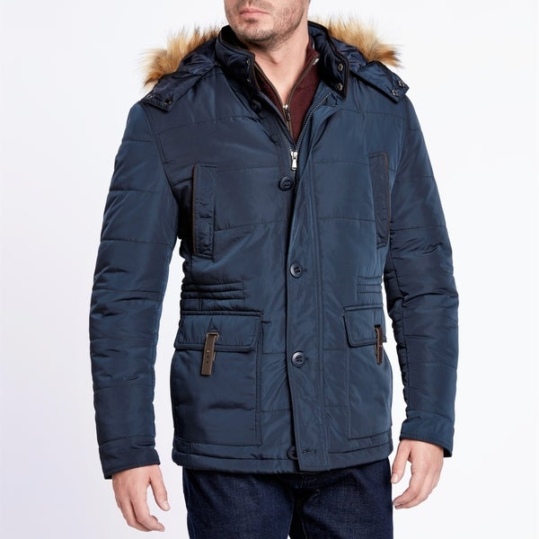 Light Weight Navy Blue Quilted Jacket With Removeable Hood Free