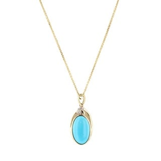 Auriya 14k Yellow Gold 6 5/8ct Turquoise and 1/10ct TDW Diamond Necklace - White
