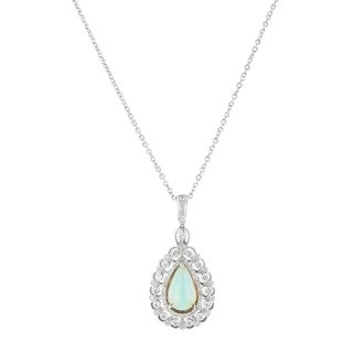 Auriya 14k White Gold 2 1/3ct Opal and 1 1/5ct TDW Diamond Necklace