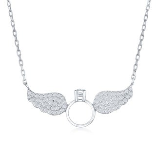 La Preciosa Sterling Silver Pave Cubic Zirconia Angel Wings W/ Engagement Ring 16+2'' Necklace