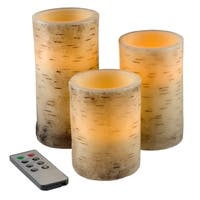 Flickering Flameless LED Candles with Birch Bark- Set of 3with Remote Control and Timer by Windsor Home