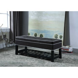 17.5-inch Fabric Upholstered Tufted Storage Shoe Bench with White Piping Accents