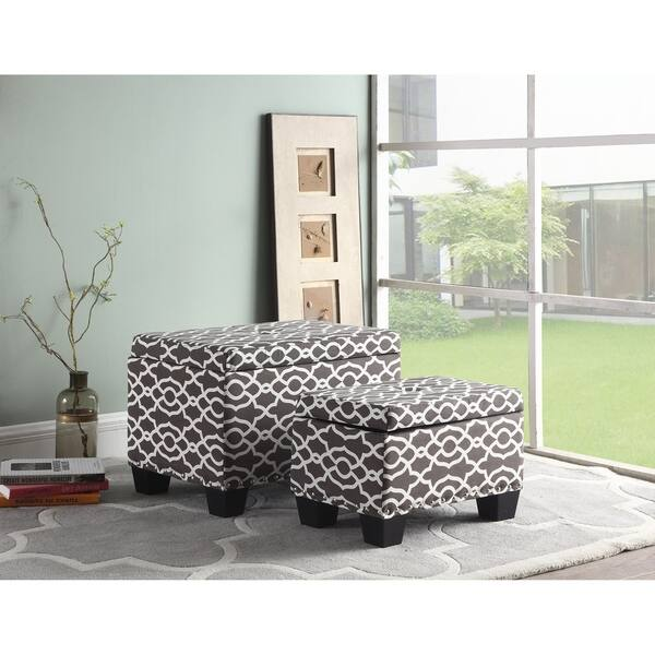 Excellent Shop 17 Inch Fabric Upholstered Patterned Storage Ottoman Creativecarmelina Interior Chair Design Creativecarmelinacom
