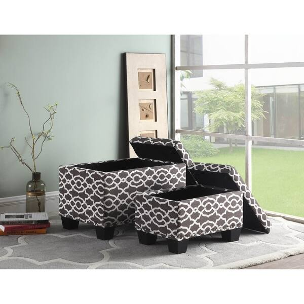 Magnificent Shop 17 Inch Fabric Upholstered Patterned Storage Ottoman Spiritservingveterans Wood Chair Design Ideas Spiritservingveteransorg