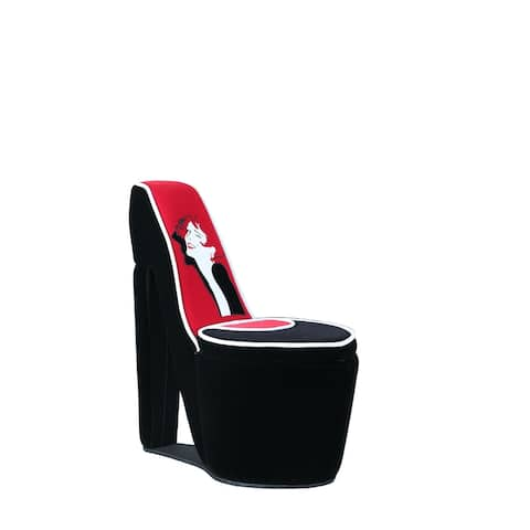 32.86-inch Glamour Girl Modern Living Room High Heel Storage Chair with White Piping