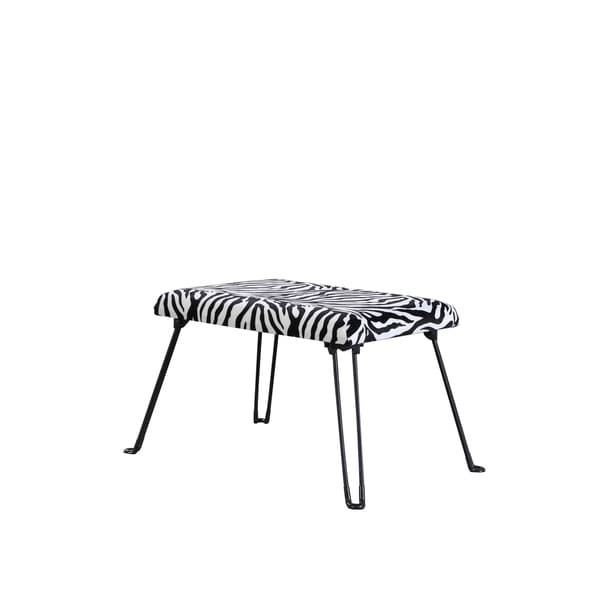 17 Inch Modern Fabric Upholstered Animal Print Accent Seat With Foldable  Legs