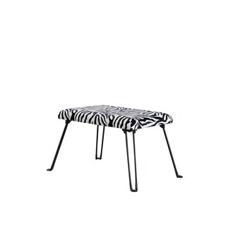 17-inch Modern Fabric Upholstered Animal Print Accent Seat with Foldable Legs