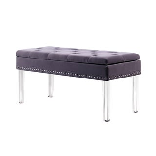 18-inch Upholstered Tufted Mid-Century Nail head Storage Bench