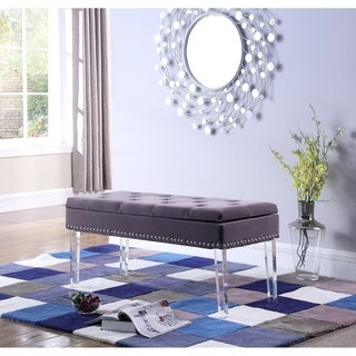 18-inch Fabric Upholstered Tufted Mid-Century Storage Bench with Nailhead Trim and Acrylic Legs