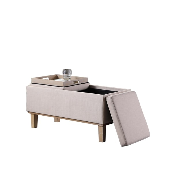 Ordinaire 17 Inch Fabric Upholstered Seat Flip Storage Bench With Unfinished Legs