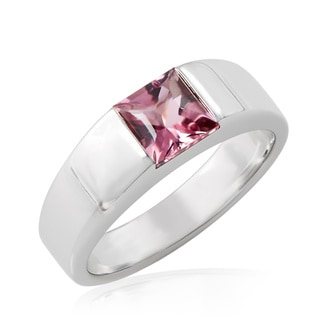 Pre-owned Cartier 18K White Gold Pink Tourmaline Tank Ring (Size 6) (As Is Item)