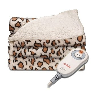Sunbeam Sherpa Microplush Electric Heated Throw Blanket - African Leopard