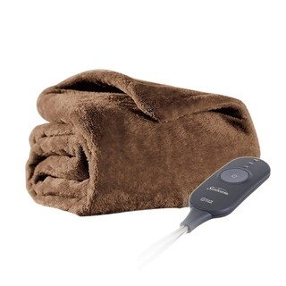 Sunbeam Microplush Electric Heated Warming Oversized Throw Blanket Cocoa