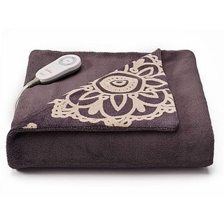 Sunbeam Microplush Comfy Toes Electric Heated Throw Blanket w Foot Pocket Daisy