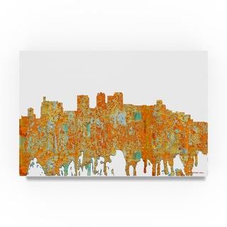 Marlene Watson 'Birmingham Alabama Skyline Rust' Canvas Art