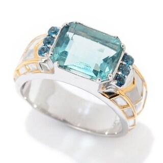 Michael Valitutti Palladium Silver Brazilian Fluorite & London Blue Topaz Men's Ring