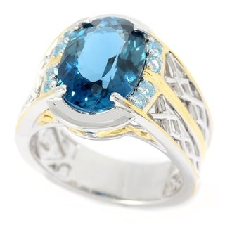 Michael Valitutti Palladium Silver London & Swiss Blue Topaz Lattice Men's Ring