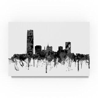 Marlene Watson 'Oklahoma City Oklahoma Skyline B and W' Canvas Art