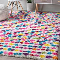 nuLoom Multicolored Contemporary Bohemian-inspired Striped Dots Shag Rug (6'7 x 9')