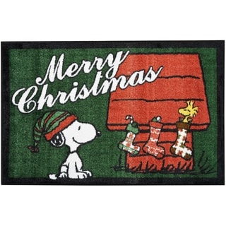 """Peanuts Buddies """"Merry Christmas"""" Green Accent Rug by Nourison (2' x 3')"""