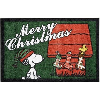 """Peanuts Buddies """"Merry Christmas"""" Green Accent Rug by Nourison"""