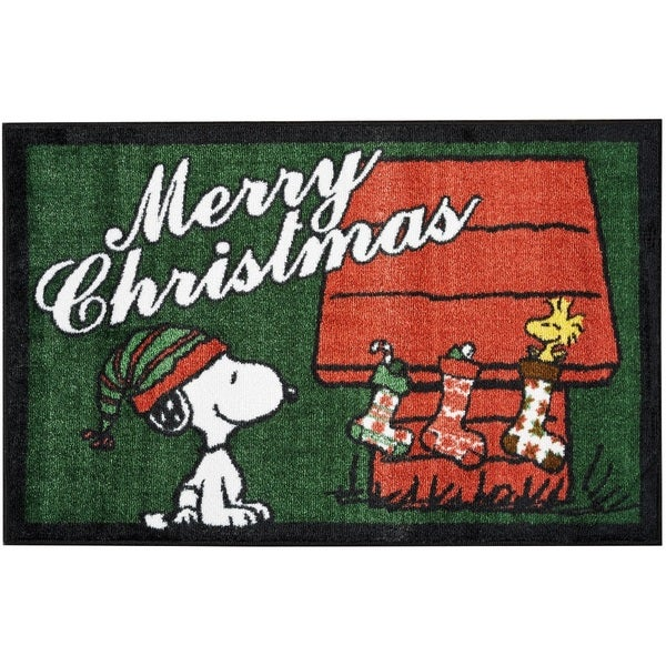 "Peanuts Buddies ""Merry Christmas"" Green Accent Rug by Nourison (2' x 3')"